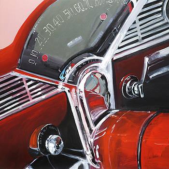 Vintage Red Car Dashboard by Atelier B Art Studio