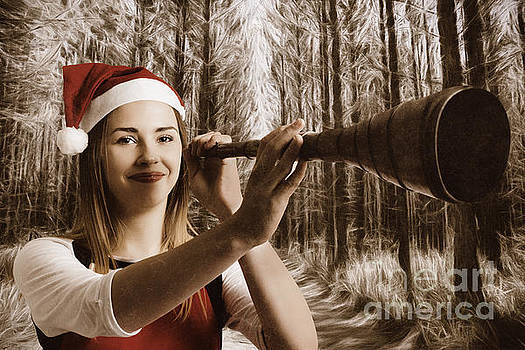Vintage santa elf searching for Christmas fun by Jorgo Photography - Wall Art Gallery