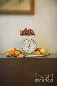 Vintage Scale and Fruits Painting by Susan Gary