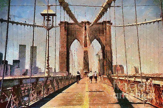 Vintage Shot of Brooklyn Bridge with Twin Towers by Nishanth Gopinathan