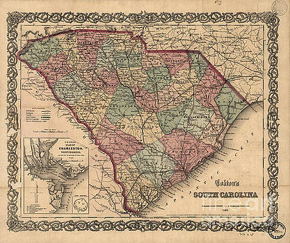 Dale Powell - Vintage South Carolina Map