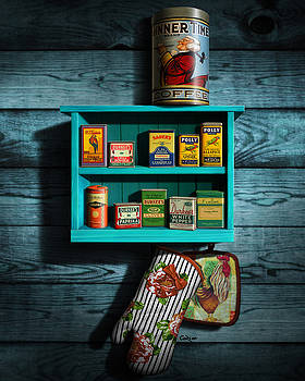 Vintage Spice Tins - Nostalgic Spice Rack - Americana Kitchen Art Decor  by Walt Curlee