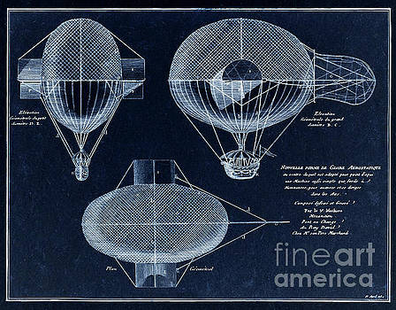 Tina Lavoie - Vintage Steampunk, French Airship blueprint drawing from 1784