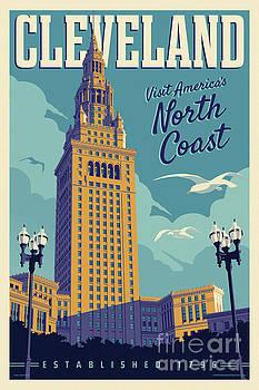 Vintage Style Cleveland Travel Poster by Jim Zahniser