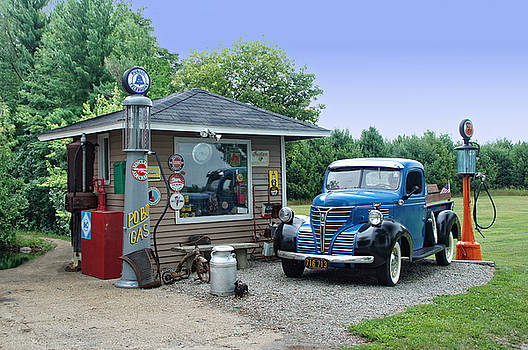 Vintage Truck and Filling Station by Judy  Johnson