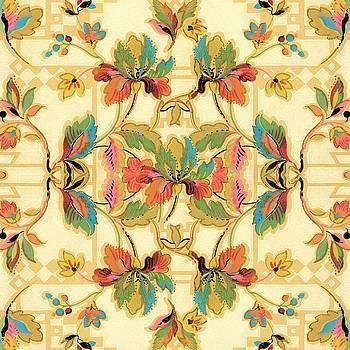 Vintage Turquoise Orange Floral Wallpaper Pattern by Tracie Kaska