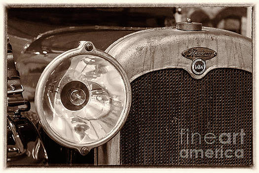 Vintage Wanderer auto, hood and lamp, BW by Vyacheslav Isaev