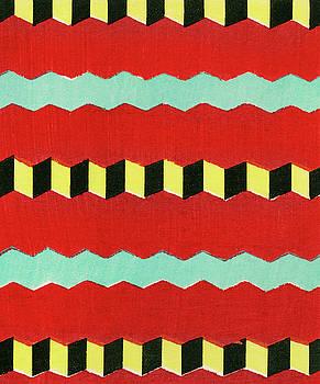Vintage woodblock print of Japanese textile by Furuya Korin