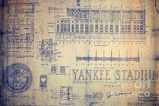 Peter Gumaer Ogden - Vintage Yankee Stadium Blueprint Signed by Joe Dimaggio