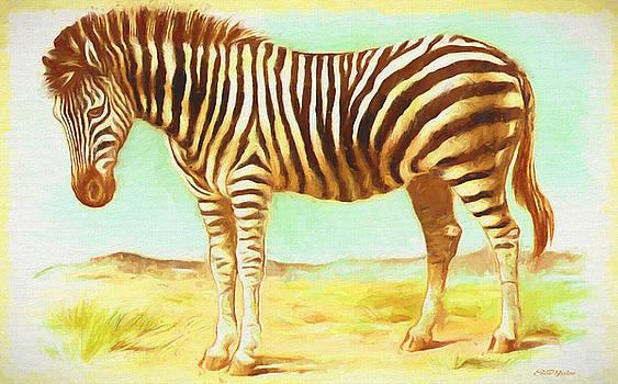 Vintage Zebra - Painting by Ericamaxine Price