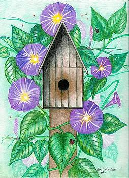 Violet Morning Glories Surrounding a Bird House by Janet Hinshaw