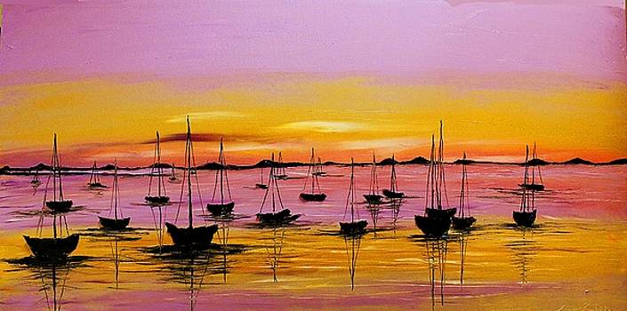 Violet Pink Sky Sails #1 by Portland Art Creations