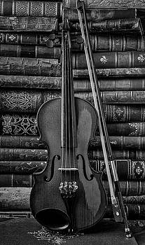 Violin And Old Books Black And White by Garry Gay