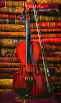 Violin And Old Books by Garry Gay