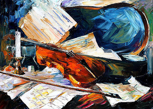 Violin - PALETTE KNIFE Oil Painting On Canvas By Leonid Afremov by Leonid Afremov