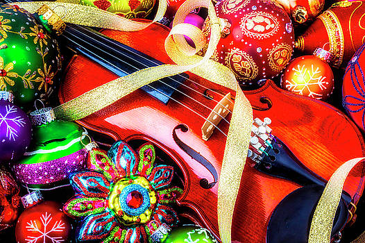 Violin With Christmas Ornaments by Garry Gay