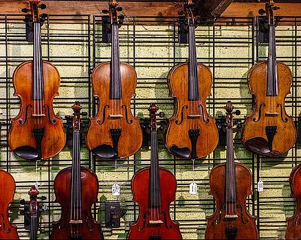 Violins in a Shop by Jim Mathis