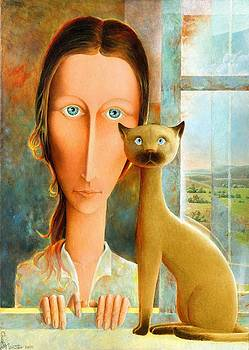 Virginia at the Window by Giuseppe Mariotti