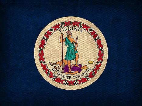 Design Turnpike - Virginia State Flag Art on Worn Canvas Edition 2