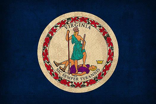 Design Turnpike - Virginia State Flag Art on Worn Canvas Edition 3