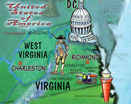 Virginia West Virginia Fun Map by Kevin Middleton