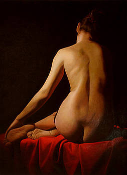 Virginie on red by Toby Boothman