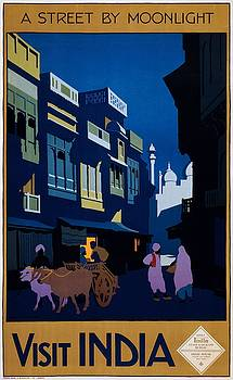 Visit India, a street by moonlight, travel poster, 1920 by Vintage Printery