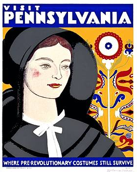 Visit Pennsylvania, where prerevolutionary costumes still survive, 1938 by Vintage Printery