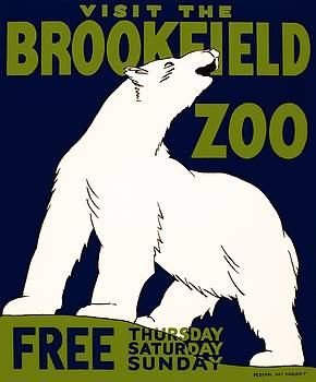 Visit the Brookfield ZOO, WPA poster, 1936 by Vintage Printery