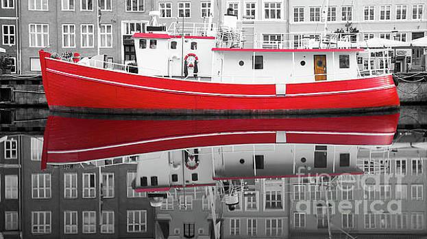 Vivid rich red boat by Vyacheslav Isaev