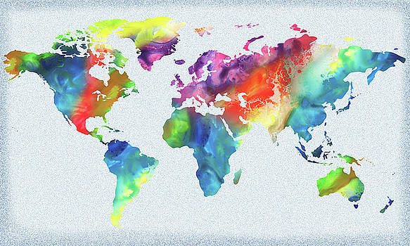 Vivid Watercolor Map Of The World by Irina Sztukowski