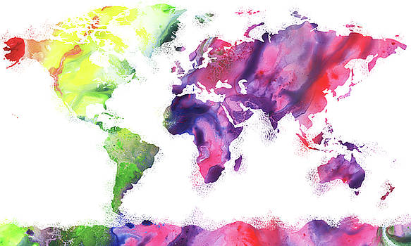Vivid World Map Watercolor by Irina Sztukowski