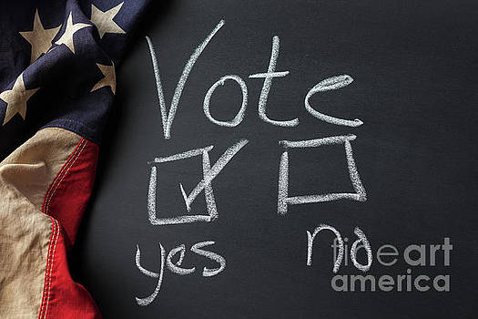 Vote Yes Sign Written on a Chalkboard by Leslie Banks