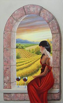 Mujer en rojo by Angel Ortiz