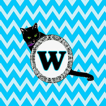 W Cat Chevron Monogram by Paintings by Gretzky