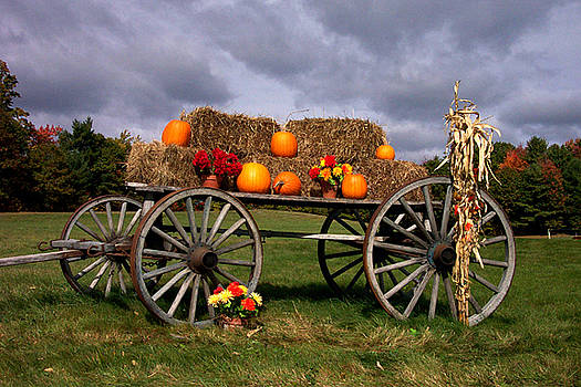 Wagon and Pumpkins by Linda Drown