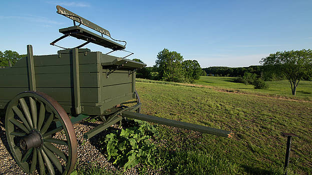 Wagon at Wagon Hill Farm in Durham New Hampshire by Justin Mountain