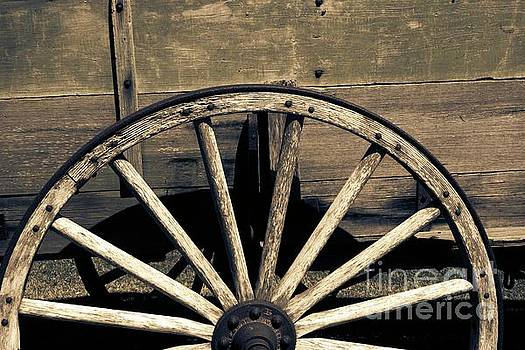 Wagon Wheel - Old West Trail N832 Sepia by Ella Kaye Dickey