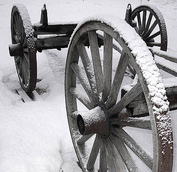 Wagon Wheels in Snow by Linda Drown