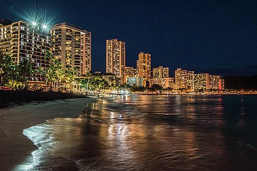 Waikiki At Night by Joy McAdams