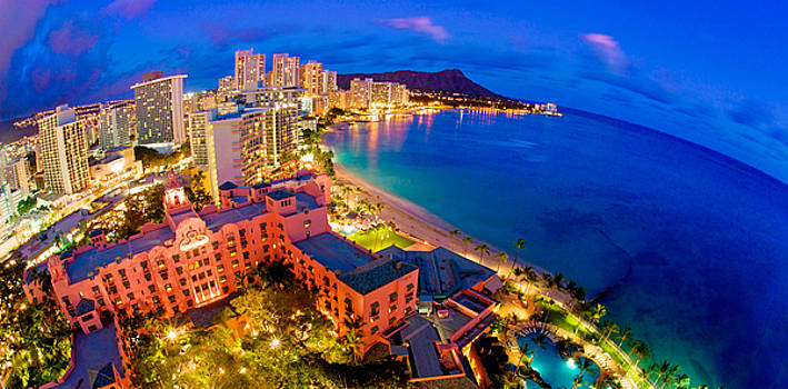Waikiki Hawaii Sunset by Monica and Michael Sweet