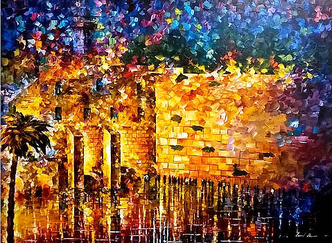 Wailing Wall 4 - PALETTE KNIFE Oil Painting On Canvas By Leonid Afremov by Leonid Afremov