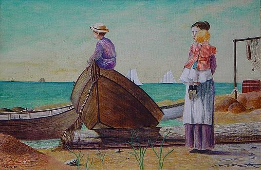 Waiting for Dad winslow Homer by Ron Sylvia