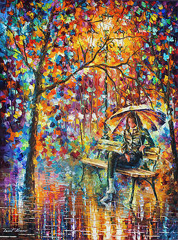 Waiting In The Rain by Leonid Afremov