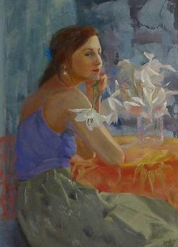 SOLD Waiting with LIlies by Irena Jablonski