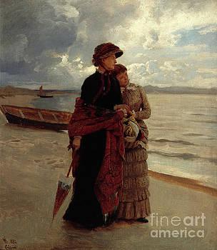 Walk on the beach Rugen by Hans Gude