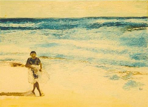 Walker On The Beach by Gunter  Tanzerel