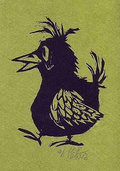 Walking Bird with green background by Barry Nelles Art