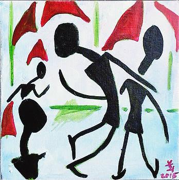 Walking in the rain by Loretta Nash