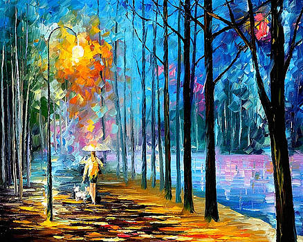 Walking My Dog 2 - PALETTE KNIFE Oil Painting On Canvas By Leonid Afremov by Leonid Afremov